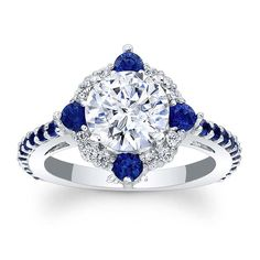 Barkev's Blue Sapphire Halo Engagement Ring 7967LBS