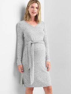 Gap Womens Maternity Softspun Knit Tie-Waist Dress Space Dye Grey Marl