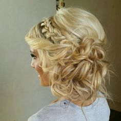 Messy curls, sideswept updo with French braid