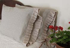 pillow ticking adds a touch of french to any bed ! listing is for.. set (2)ruffled pillowcases..blue stripe ticking... standard / king regular
