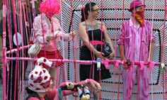 Protest Knitting: The Knit Your Own Revolt Gang leave a cell outside Queensland parliament