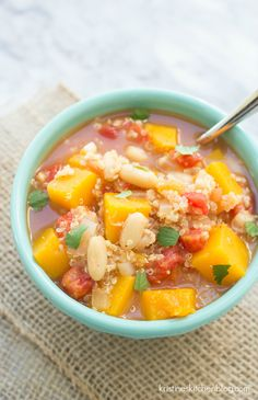 Slow Cooker Butternut Squash and Quinoa Chili Soup - a healthy vegetarian soup made in the crock pot!