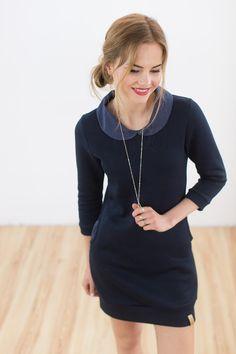 Knielange Kleider - Kleid Baudelaire dunkelblau  - ein Designerstück von Shoko bei DaWanda