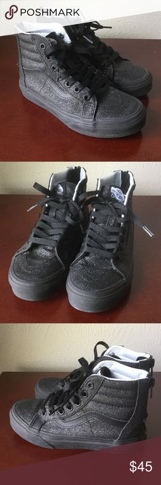 c3e0317f0ad039 ✨Vans Black Sparkle Glitter High Top Like New Vans Sk8-Hi Zip Black Glitter