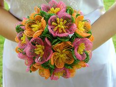 Great Alternative to flowers!: bjb -- Fuchsia Pink and Orange French Beaded Flower Bridal by BeadedFleur, $125.00
