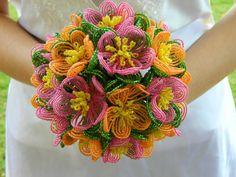 Great Alternative to flowers!: bjb -- Fuchsia Pink and Orange French Beaded Flower Bridal by BeadedFleur, $125.00
