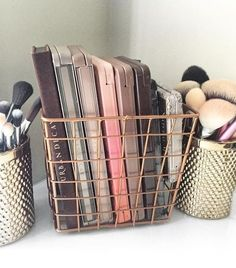 Keep all your makeup palettes on display and within reach by storing them in cool copper wire baskets on your vanity.