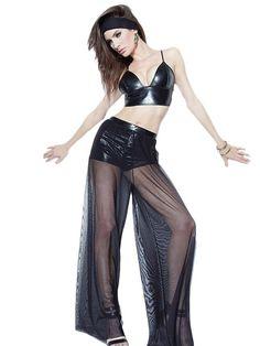 Pant Definit Noir Similicuir Bralette Top Avec Pantalon Palazzo – Modebuy.com
