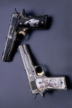 """The White & Black Knights"" 1911 A1 .45 Autos By Mike Dubber Engraving Studio"