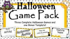 Mix things up with interactive PowerPoint games this Halloween! 3 complete and ready to play and 1 template you can personalize.  Perfect for Halloween Parties and days leading up…