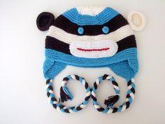 Cotton Monkey Hat -Knitting Baby  Hat  - for Baby or Toddler-newborns knit boy hat animal-boy halloween costume. $28.00, via Etsy.