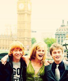 Rupert Grint, Emma Watson, and Daniel Radcliffe.