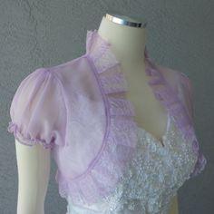 Wedding Bolero Shrug Lilac Chiffon Lace Trim by Chuletindesigns, $50.00