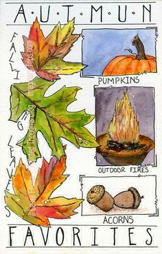 Fall favorites leaves acorns