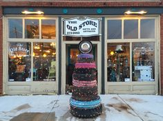 Our sidewalk Christmas Tire Tree! #theoldstore