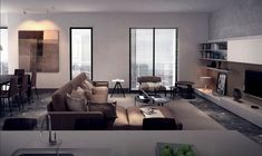 This living room is everything urban from the skyline views to the sleek and simple furniture.