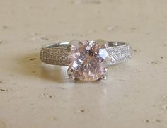 Large Solitaire Morganite Ring Promise Ring for Her by Belesas