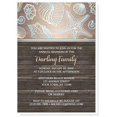 Family Reunion Invitations - Rustic Wood Beach Seashell – Artistically Invited