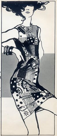 Illustration by Antonio Lopez, 1965, Marie Bonheur Couture.