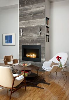 Get inspired by Mid-Century Modern Living Room Design photo by Duncan Hughes Interiors. Wayfair lets you find the designer products in the photo and get ideas from thousands of other Mid-Century Modern Living Room Design photos. Mid Century Modern Living Room, Eclectic Living Room, Living Room Images, Living Room Designs, Foyers, Fireplace Facing, Boston Interiors, Fireplace Design, Wood Fireplace