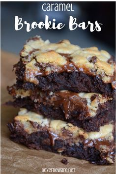 Brownie recipes 107804984816838387 - Caramel brookie bars are a caramel chocolate chip cookie brownies recipe that is the combination of a brownie mix with a chocolate chip cookie dough mix. Chocolate Chip Cookie Brownies, Cookie Dough Brownies, Chocolate Brownie Cookies, Cookie Brownie Bars, Caramel Cookies, Caramel Bars, Cookie Brownie Recipes, Recipes With Brownie Mix, Brownie Mix Desserts
