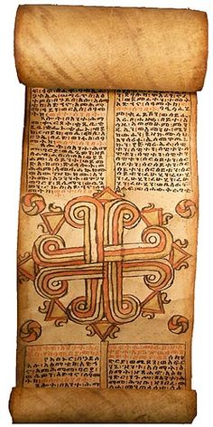 Ancient Ethiopian Scroll - incorporating Coptic Christian symbols with philosophy and emerging physical science Jewish History, African History, African Art, Christian Symbols, Christian Art, Larp, Book Of Hours, African Diaspora, Sacred Art