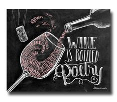 Wine Art Chalkboard Art Wine Lover Wine Artwork Chalkboard Sign Wine Sign Wine Print Wine Decor Wine Is Bottled Poetry Kitchen Art Blackboard Art, Chalkboard Print, Chalkboard Lettering, Chalkboard Designs, Chalkboard Decor, Chalkboard Art Kitchen, Art Du Vin, Arte Bar, Wine Signs