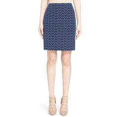Akris punto Eyelet Embroidered Pencil Skirt (5 925 SEK) ❤ liked on Polyvore featuring skirts, pencil skirt, knee length pencil skirt, eyelet pencil skirt, embroidered skirt and eyelet skirt