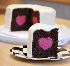 Valentine's Day is fast approaching... Deep Chocolate Cake with a Raspberry MOUSSE heart! <3
