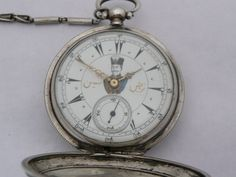 Rare Antique 44Mm Silver Turkish Ottoman Billodes Zenith Pocket Watch & Chain 10