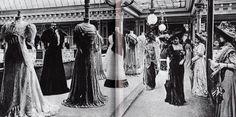 mode belle époque bon marché Présentation d'une collection au Bon Marché en 1905 Đây là buổi trình diễn bộ sưu tập thời trang diễn ra tại Pháp, điều này cho thấy, thời trang đã phát triển từ rất sớm và cách thức đưa sản phẩm tới tay người tiêu dùng cũng rất hiệu quả.