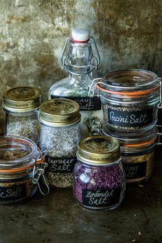 Infused Salts, including Zinfandel infused salt.
