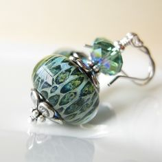 Lily Pond Earrings  Lampwork Boro earrings by dkjewels on Etsy, $42.00