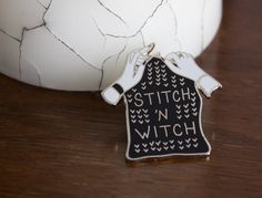 Stitch 'n Witch Enamel Lapel Pin by BombasineDesign on Etsy