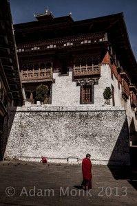 Monks of Trongsa Dzong in Bhutan
