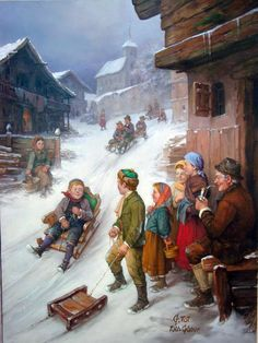 """""""Children On The Sledge"""" by Toth Gabor (Hungarian Artist) Vintage Christmas Images, Christmas Pictures, Christmas Paintings, Christmas Art, Illustrations, Illustration Art, Decoupage, Creation Photo, Hello Winter"""