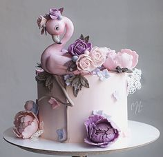 Elegant Birthday Cakes, Beautiful Birthday Cakes, Baby Birthday Cakes, Girly Cakes, Cute Cakes, Beautiful Cake Designs, Beautiful Cakes, Flamingo Cake, Baby Girl Cakes