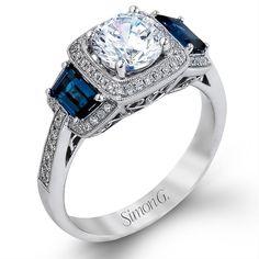 Nagi | Bridal | Simon G. Vintage Cushion Halo Round Diamond ...