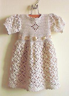 Crochet Dress For Baby Girl Crochet Dress Girl, Crochet Baby Dress Pattern, Baby Girl Crochet, Crochet Baby Clothes, Baby Knitting Patterns, Crochet For Kids, Pink Toddler Dress, Lace Top Dress, Little Girl Dresses