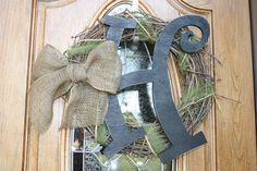 Handcut Wooden Letter - Burlap Monogram Door Wreath. via Etsy.