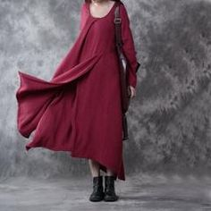 Women Casual Loose Cotton Linen Dress Red