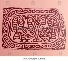 Stamp for the printing of textiles; 7th-8th century AD. From Akhmim in the Sohag Governorate of Upper Egypt. Referred to by the ancient Greeks as Khemmis, Chemmis and Panopolis Stock Photo