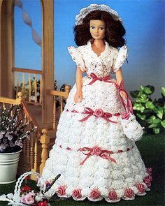 Blushing bride gown for barbie free crochet pattern free barbie garden party crochet project httpwebchiveweb dt1010fo