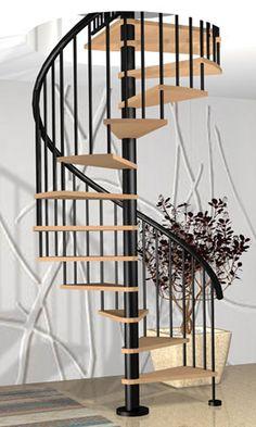 Escalera de caracol con barandilla forrada de madera - Escaleras de caracol de madera ...