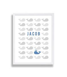 Nautical Nursery Art Whale Nursery Decor Baby Name by CocoAndJames, $16.00