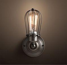 Antik Retro Vintage Käfig Lampe Wandleuchte inkl. 40W Edison Glühbirne in Möbel & Wohnen, Beleuchtung, Wandleuchten   eBay