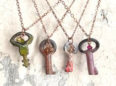 Rustic enameled key necklaces with copper chain by UrbanGoddesses, $25.00
