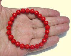 Meditation Bracelet - Red Corall 8mm Round, Stretch Men Bracelet- Root Chakra - Handmade - Natural Stones - Jewellery de ArtGemStones en Etsy