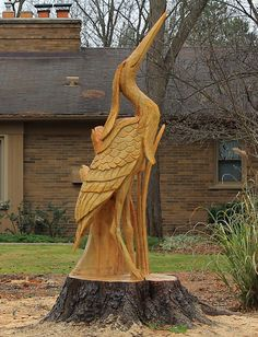 Blue Heron wood carving by Scott Kuefler at Carvings by Scott; spotted in Northville, Michigan