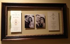 Frame your wedding program and invitation with pictures in your new home